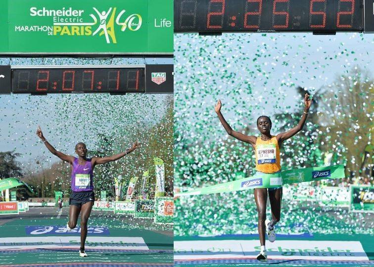 Pobednici pariskog maratona – Ciprijan Kotut i Vislin Džepkešo, oboje iz Kenije