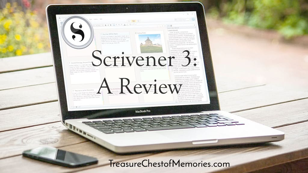 Scrivener 3 a Review graphic with laptop wScrivener 3 on it