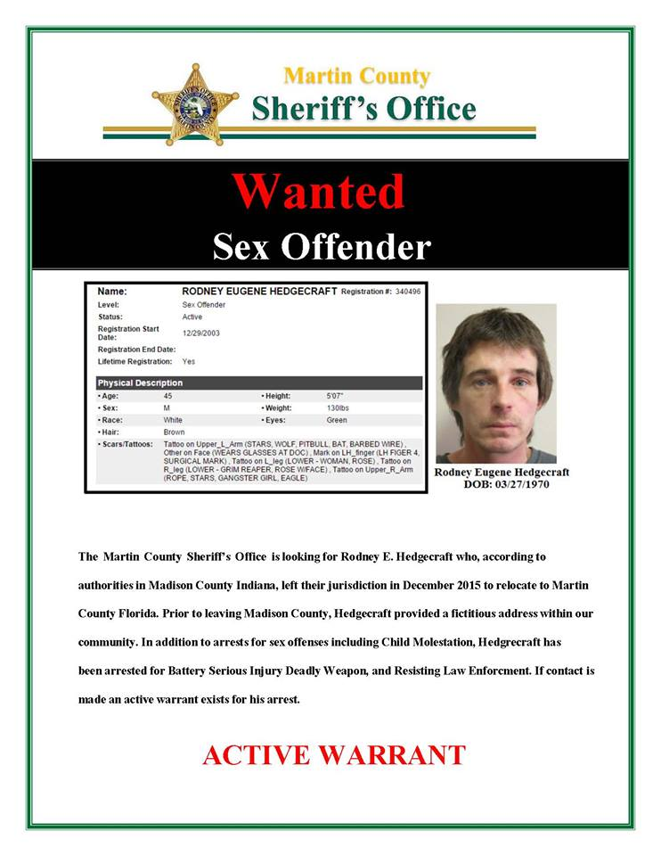 BOLO for absconded sexual offender