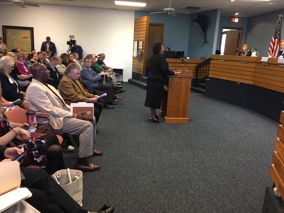 Stuart Mayor Eula Clarke at the Martin County Legislative Delegation Meeting 2017
