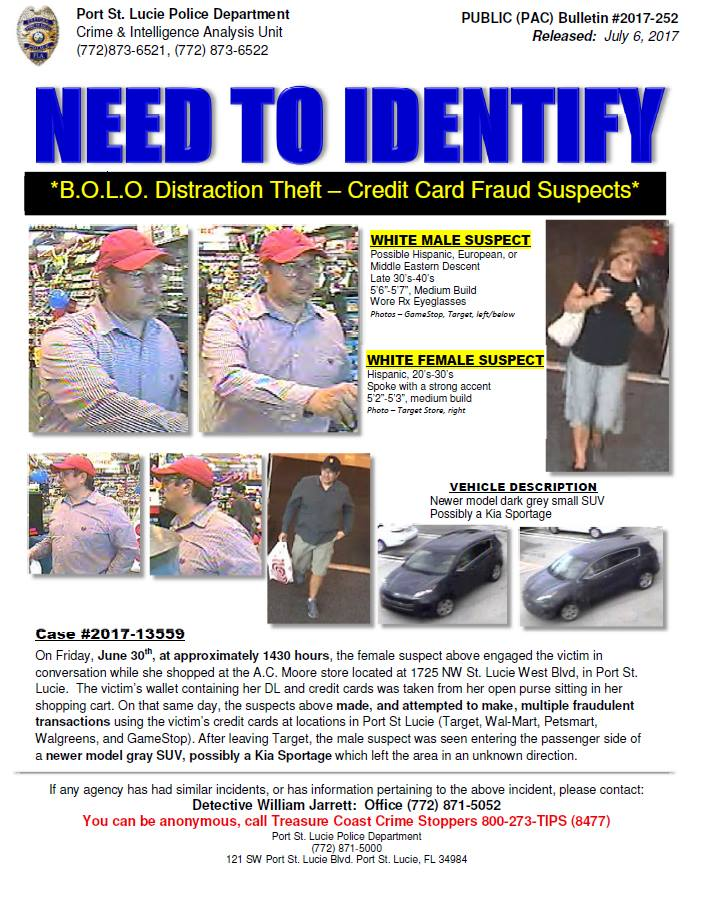 """PSLPD asking for public's help in identifying """"Distraction Thieves """""""