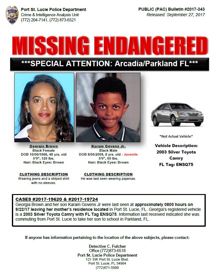 PSLPD searching for missing endangered Mother and Son