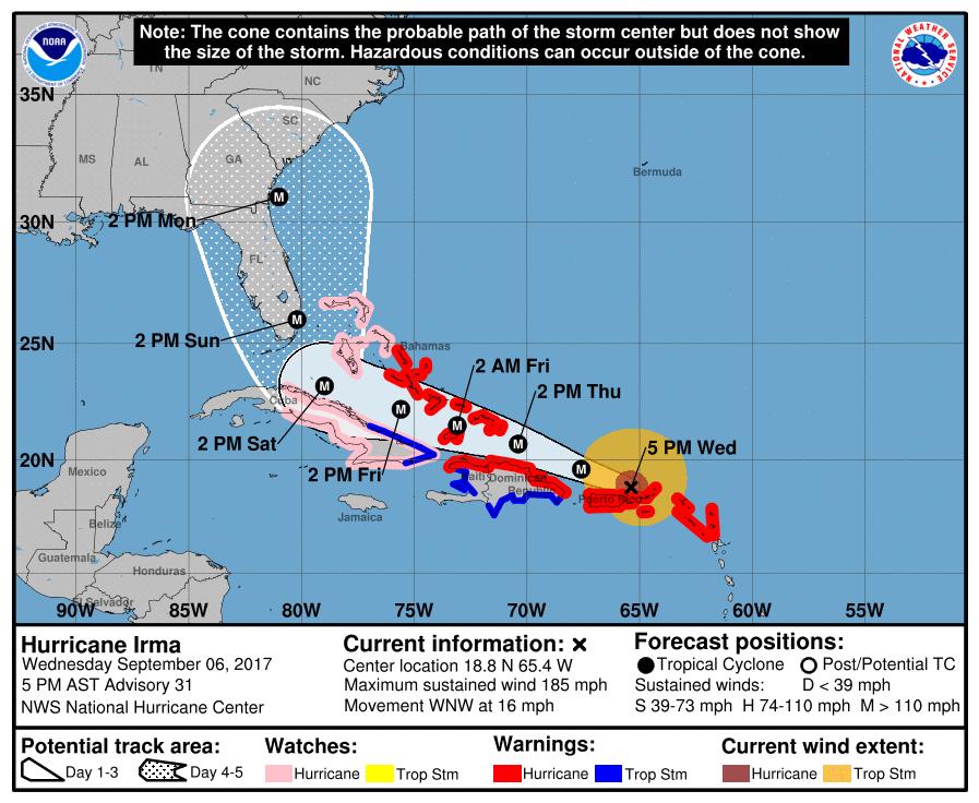 Hurricane Irma Sept 6 Five PM update