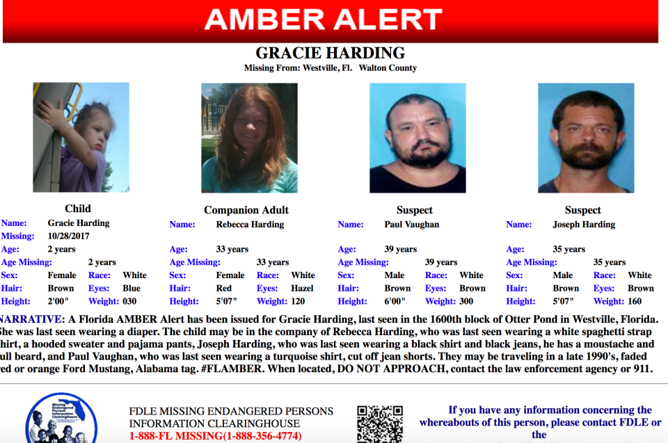 Amber Alert issued for 2-year-old Walton County girl