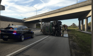 Septic Tank Rollover on NB Turnpike in Martin