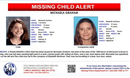 Missing Child Alert: 14-year-old female from Sebring