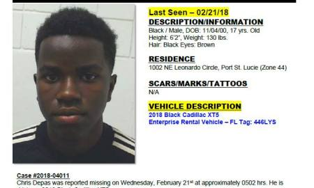17 yo male missing in Port St Lucie