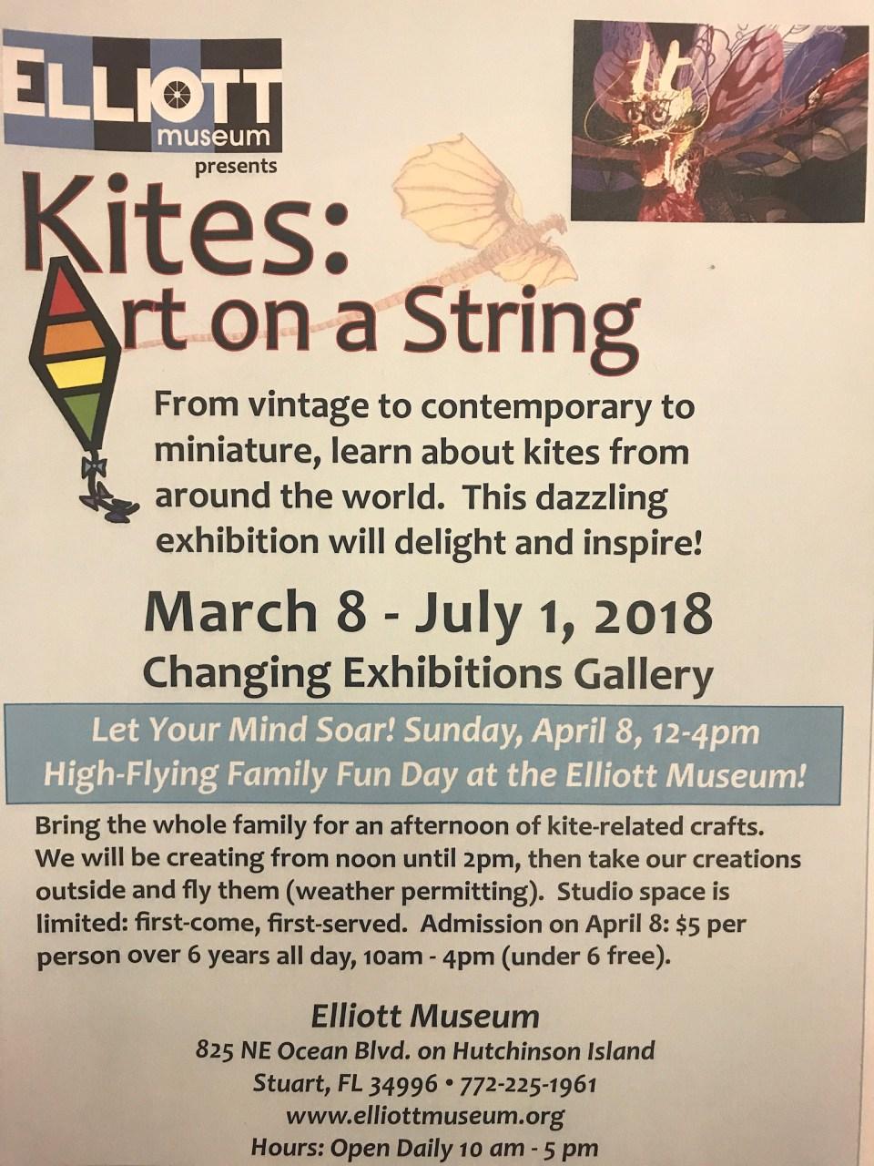 "New Elliott Museum Exhibit ""Kites: Art on a String"" Family Fun Day April 8th"