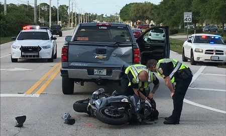 four vehicle /motorcycle crash