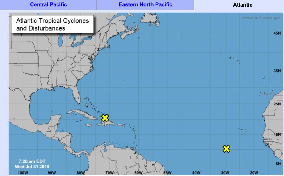 Two areas of disturbance in Atlantic