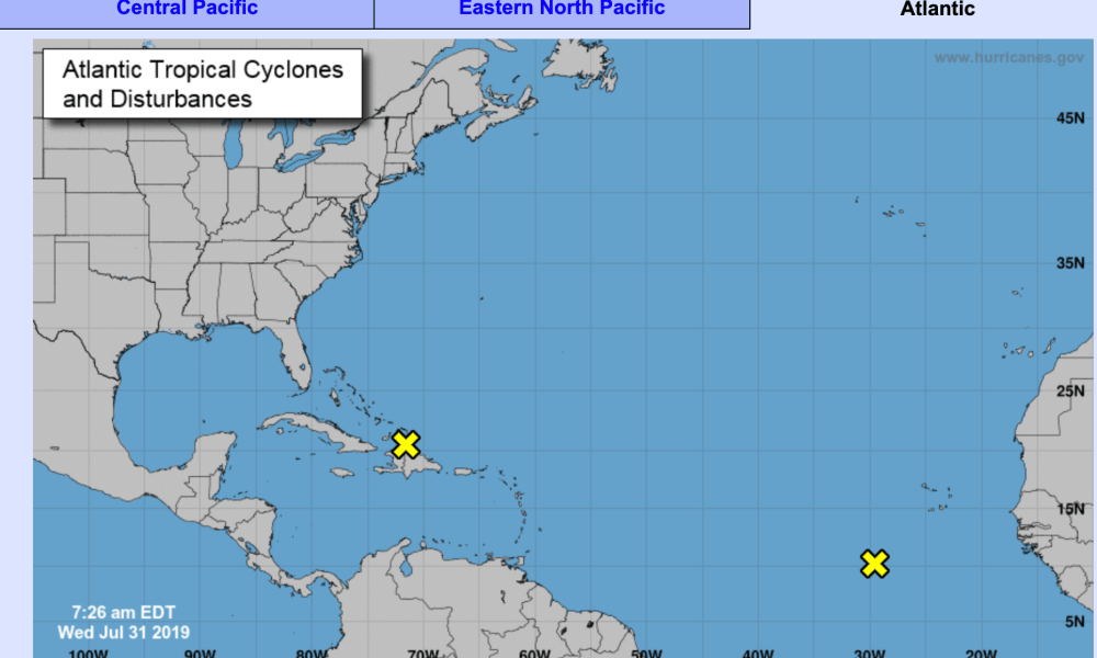 Two areas of disturbance in Atlantic