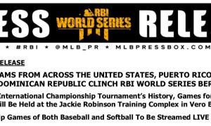 International Championship Tournament for Baseball and Softball will held in Vero Beach