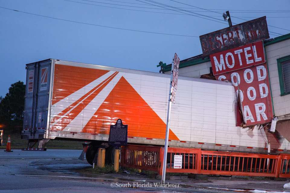 Tractor-trailer crashes into Desert Inn brown the south florida wanderer