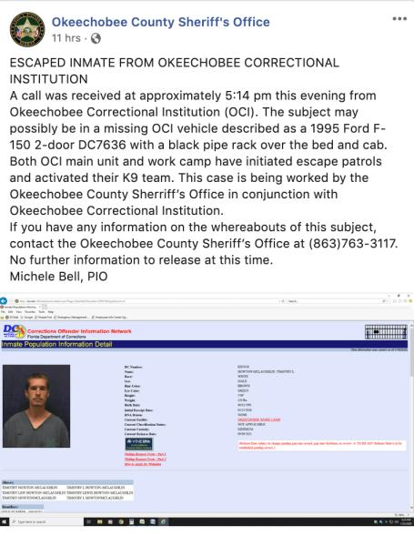 Escaped inmate spotted in Vero Beach