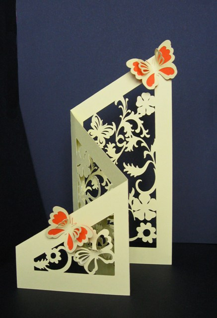 Tri Fold Floral Amp Butterfly Cut Out Card Template
