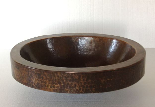 oval copper sink with apron | copper bathroom sink | oval copper