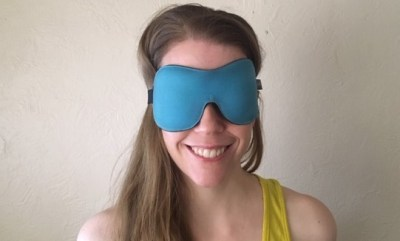 wearing a sleep mask