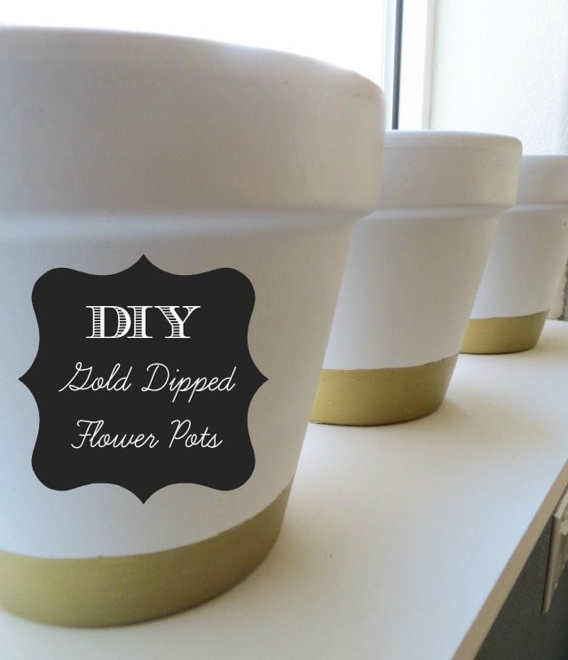 DIY gold dipped flower pots