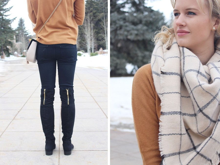 Zara blanket scarf, camel sweater, black over the knee boots, winter outfit idea, fashion blog, Treats and Trends, winter fashion