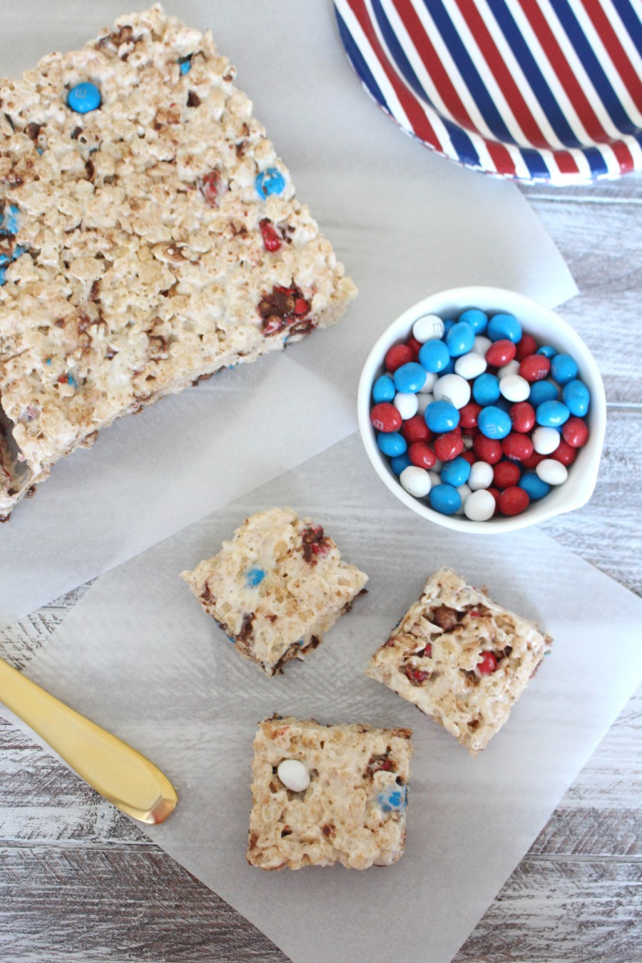 Patriotic Rice Krispies Treats Two Ways, 4th of July dessert, red white and blue dessert, smores m&Ms