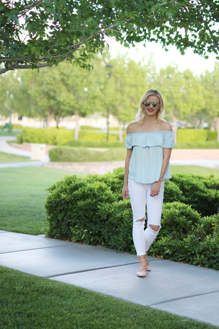 chambray off the shoulder top, spring trend, fashion blog, Treats and Trends