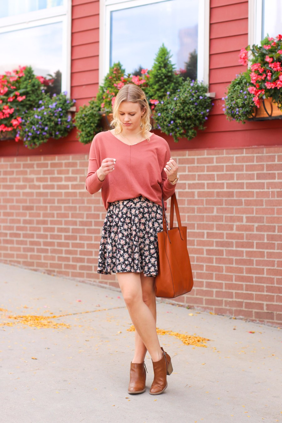 floral skirt, fall outfit, fashion blog, fall booties, women's fashion, Pinterest outfit, golden, colorado