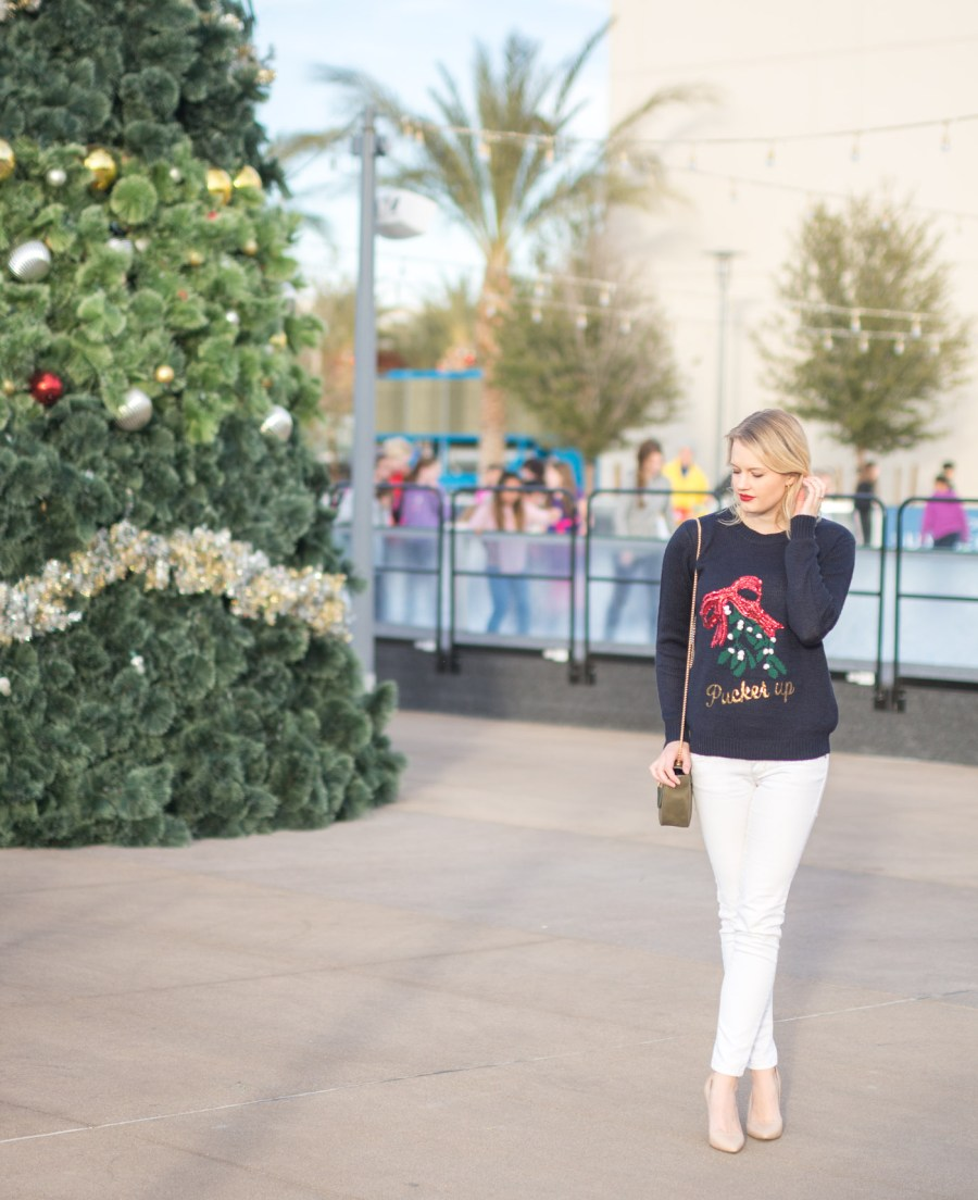 ugly Christmas sweater, pucker up sweater, Nordstrom Rack, fashion blog, Treats and Trends, holiday party outfit idea