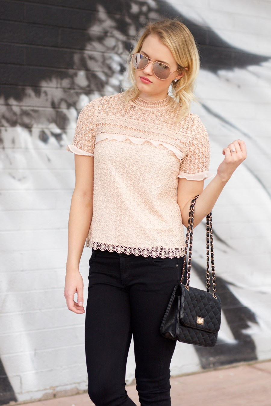 How to find designer dupes, ZARA, pink lace top, Chanel copycat flats, fashion blog, Treats and Trends, Jamie Kamber, pinterest outfit idea