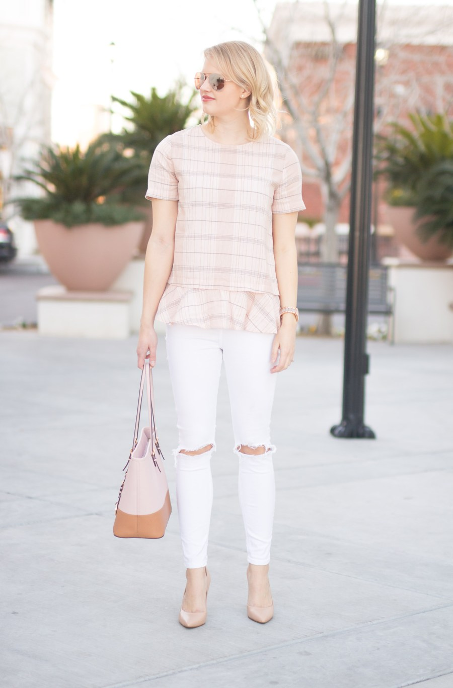 ruffle blouses under $50, Nordstrom Rack top, blush, fashion blog, Treats and Trends