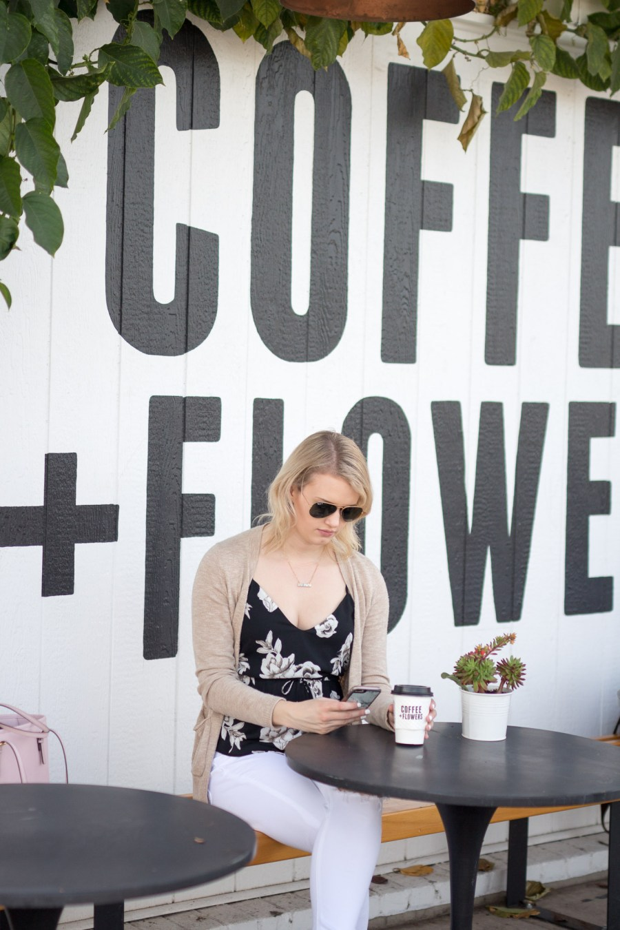 cute coffee shop in San Diego, Communcal Coffee, Coffee + Flowers, fashion blog, food blog, Treats and Trends, spring outfit idea