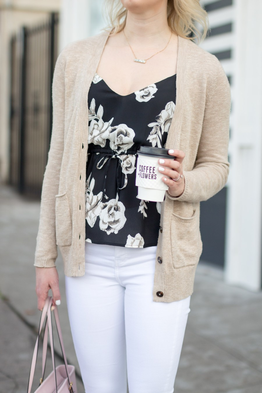 cute coffee shop in San Diego, Communcal Coffee, Coffee + Flowers, fashion blog, food blog, Treats and Trends, spring outfit
