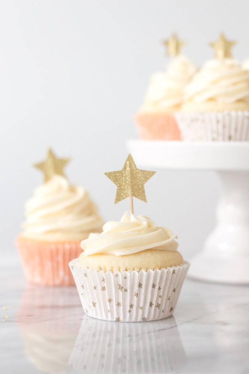 Vanilla Almond Cupcakes with Star Decorations