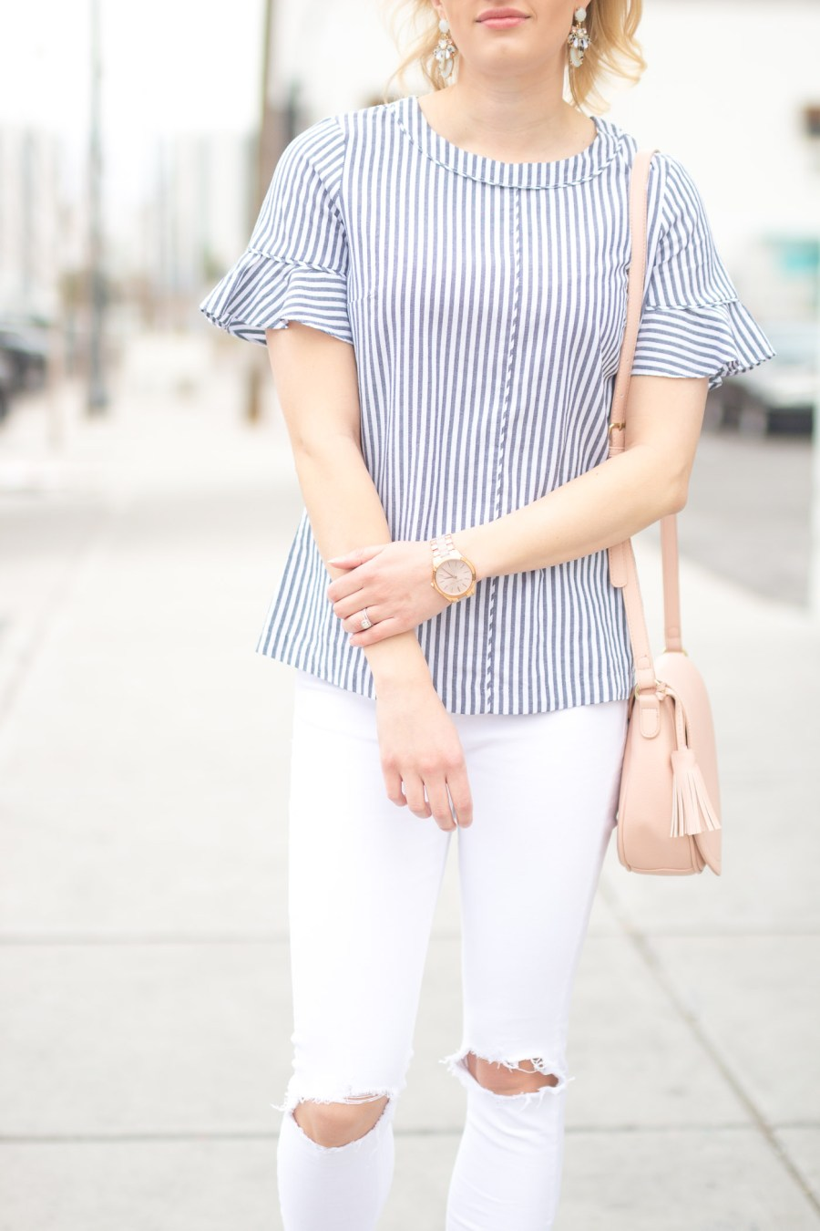 Spring and Summer 2017 Trend: Thin Stripes, Banana Republic blouse, ruffle sleeves, fashion blog, Treats and Trends