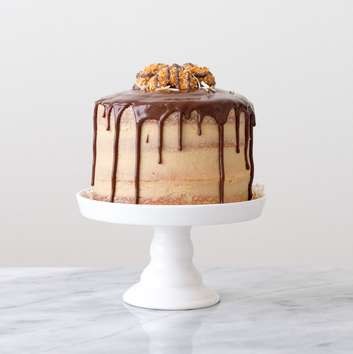 Samoas-Inspired Layer Cake with Chocolate Drips