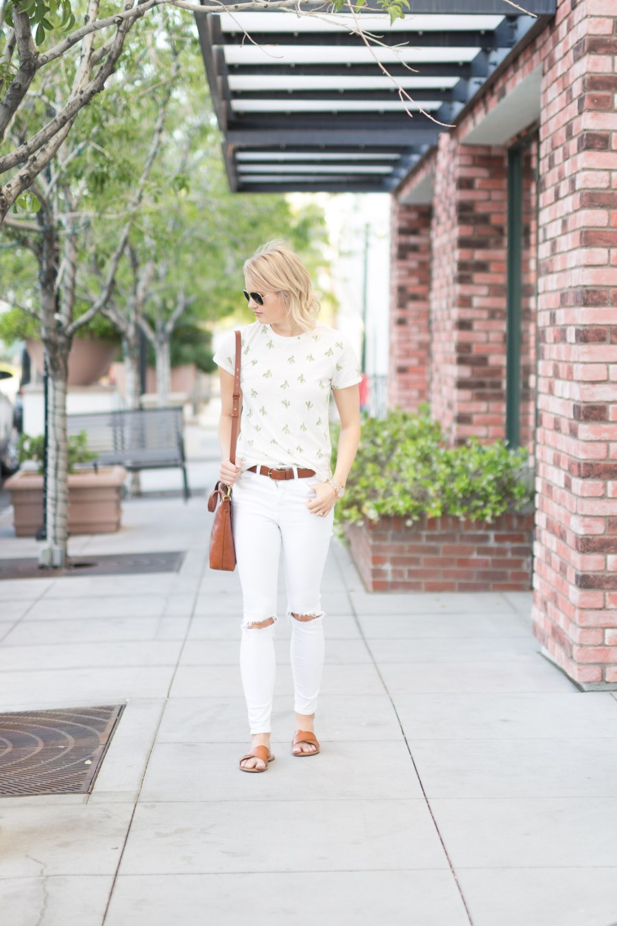 cactus print trend, cactus t-shirt from target, fashion blog, spring outfit idea, Treats and Trends