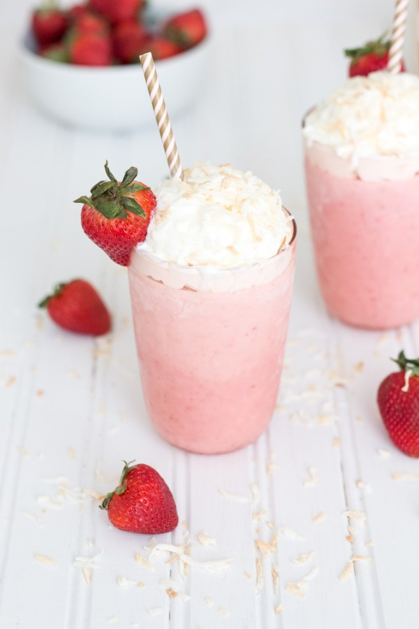 Strawberry Milkshake with Coconut Whipped Cream