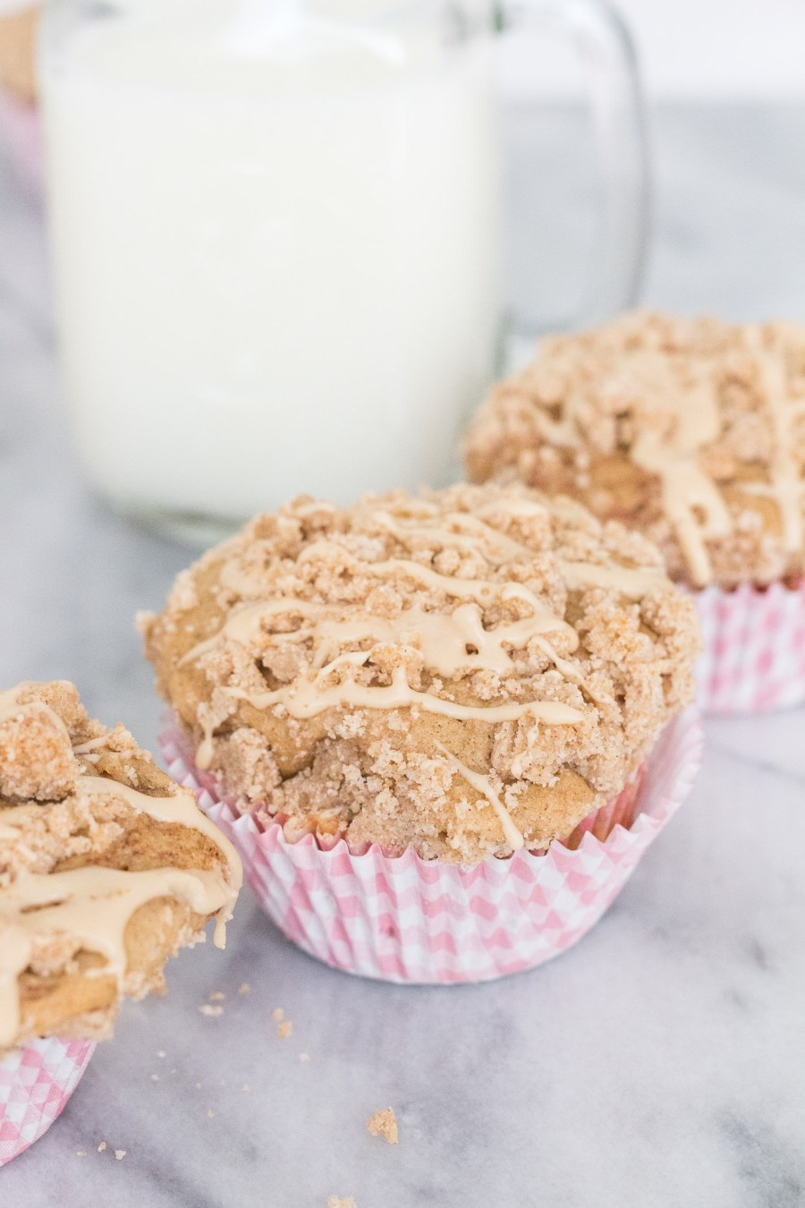 Brown Butter Coffee Cake Muffins with Almond Glaze, Easter recipe, brunch recipe, Treats and Trends