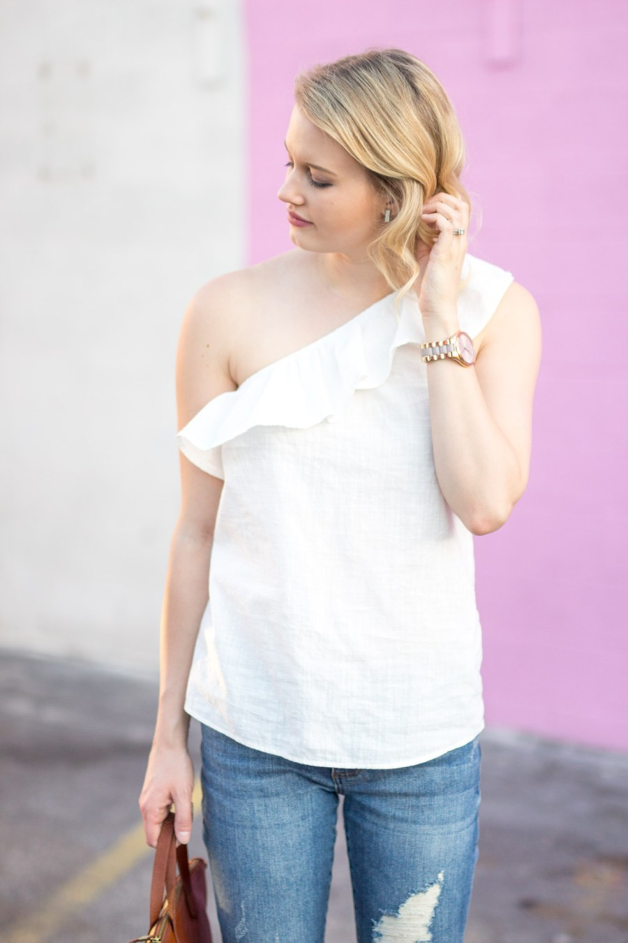 The Best One-Shoulder Tops for Spring, spring outfit idea, fashion blogger, Treats and Trends