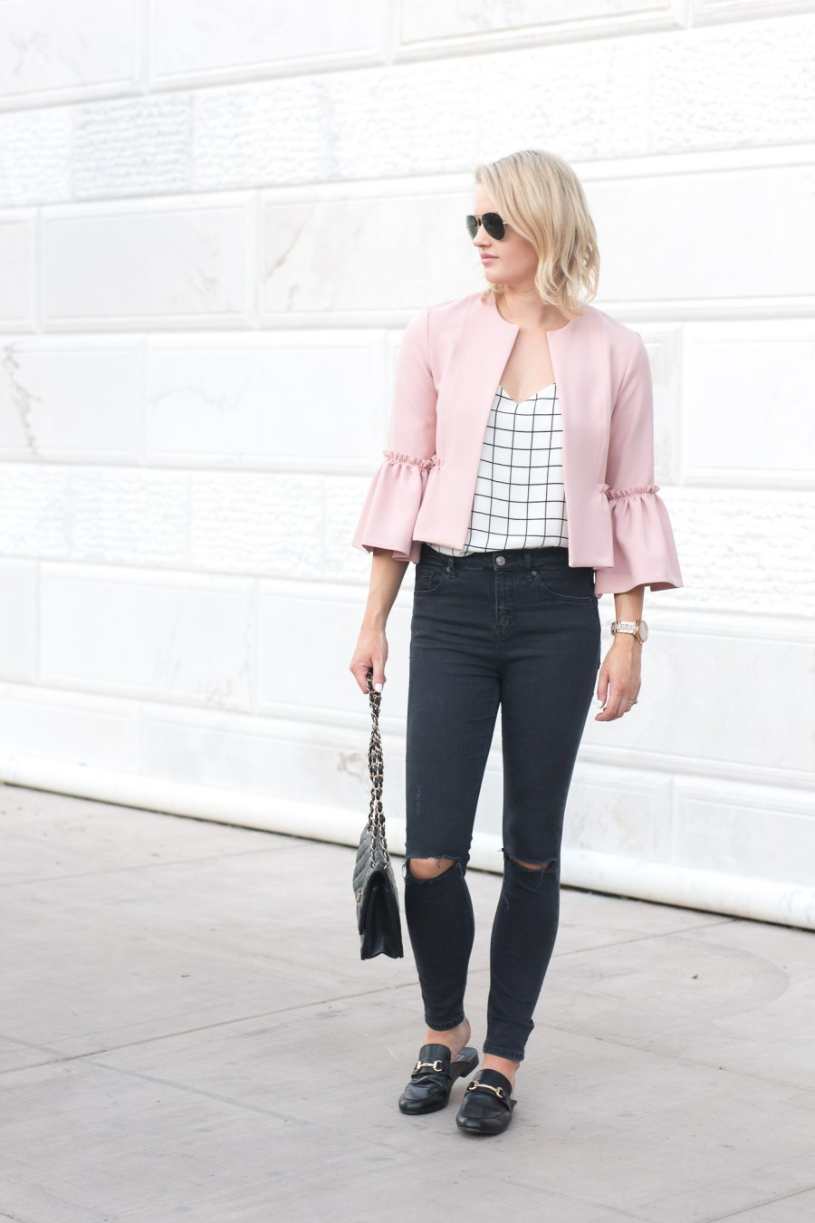 pink crop ruffle jacket, Topshop jacket, spring outfit idea, fashion blog, Treats and Trends