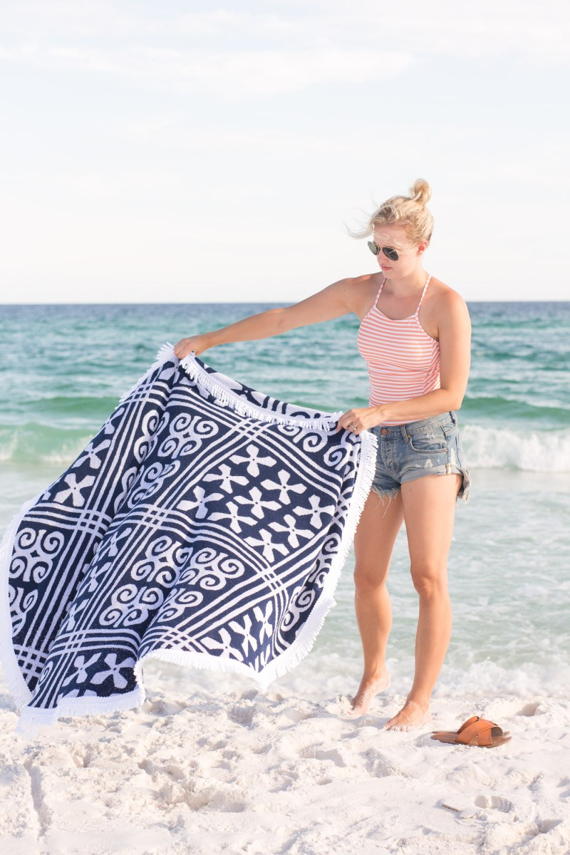 Beach Day Necessities, Destin Florida, Albion Fit Swimsuit, Vera Bradley round towel