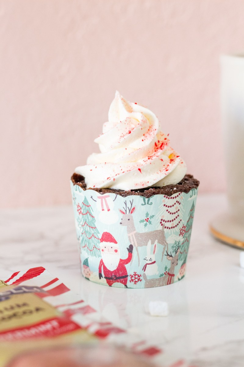 Peppermint Hot Chocolate Cupcakes with Marshmallow Buttercream