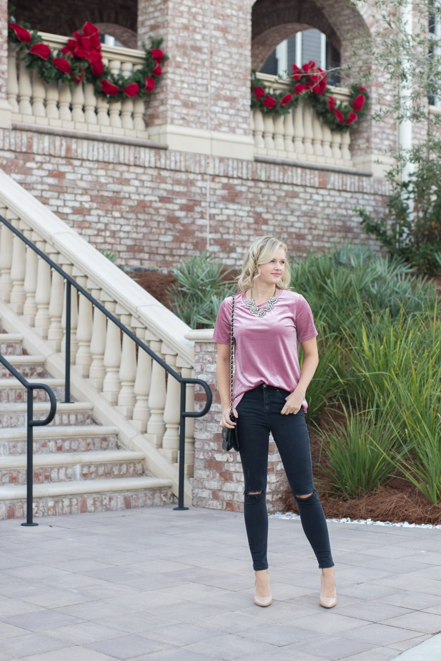 How To Style A Velvet T-Shirt for a holiday party outfit