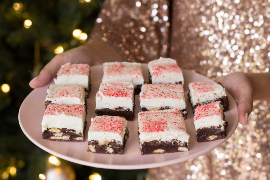 Flourless peppermint brownies made with Ghirardelli peppermint chunks