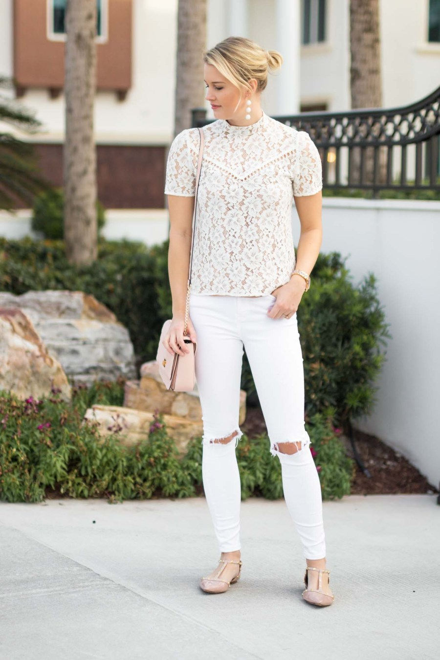 white monochromatic outfit for spring