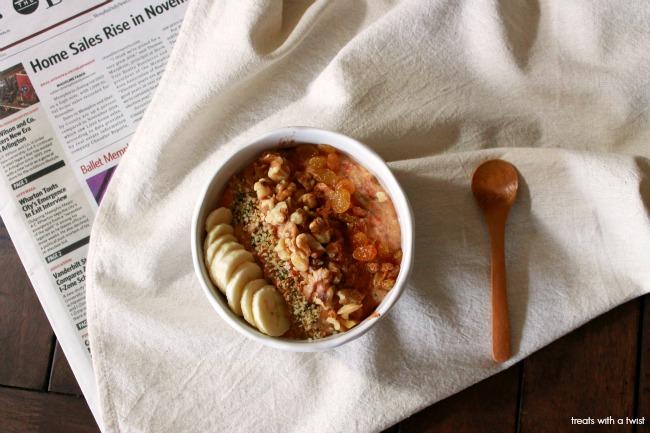 Carrot Cake Oatmeal // treatswitatwist.com // gluten free breakfast