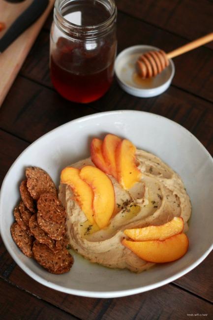 Lemon Basil Hummus with Peaches and Honey 1