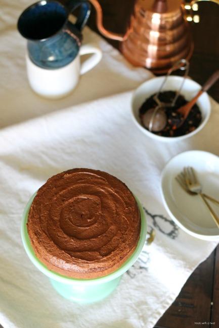 Chocolate Pumpkin Brownie Cake with Chocolate Pumpkin Buttercream Frosting // gluten free // treatswithatwist.com