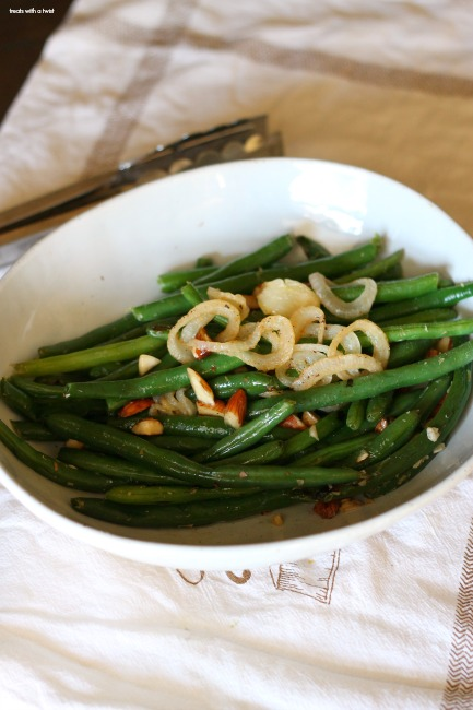 Green Beans with Almonds and Sage Butter Onions // treatswithatwist.com