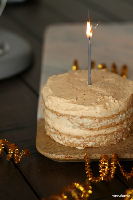 Baby's Applesauce Cake with Peanut Butter Frosting // gluten free, dairy free// treatswithatwist.com