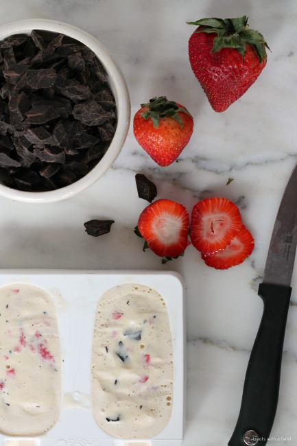 Strawberry Chocolate Chunk Ice Cream Bars // treatswithatwist.com